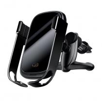 Держатель автомобильный Baseus, Rock-solid, для смартфона, металл, воздуховод, шарнир, беспроводная зарядка Qi, цвет: чёрный