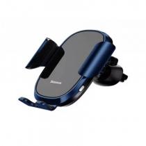 Держатель автомобильный Baseus, SMART, для смартфона, металл, стекло, воздуховод, шарнир, цвет: синий