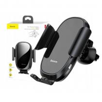 Держатель автомобильный Baseus, SMART, для смартфона, металл, стекло, воздуховод, шарнир, цвет: чёрный