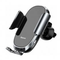 Держатель автомобильный Baseus, SMART, для смартфона, металл, стекло, воздуховод, шарнир, цвет: серебряный