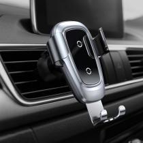 Держатель автомобильный Baseus, WXYL-B09, для смартфона, металл, воздуховод, шарнир, беспроводная зарядка QI, цвет: серебряный