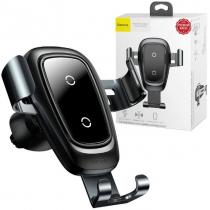 Держатель автомобильный Baseus, WXYL-B09, для смартфона, металл, воздуховод, шарнир, беспроводная зарядка QI, цвет: серый