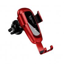 Держатель автомобильный Baseus, WXYL-B09, для смартфона, металл, воздуховод, шарнир, беспроводная зарядка QI, цвет: красный