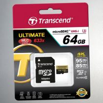 Карта памяти microSDHC 64Gb Transcend, Ultimate, Class3, UHS-I U3 95Mb/s 633x, с адаптером