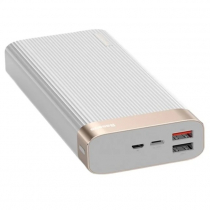 Аккумулятор внешний Baseus, Parallel line, 20000mAh, пластик, 2 USB выхода, Type-C, QC3.0, PD, 2.0A, цвет: белый