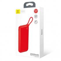 Аккумулятор внешний Baseus, Powerful, 20000mAh, пластик, 2 USB выхода, Type-C, QC3.0, PD, 2.0A, цвет: красный