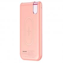 Аккумулятор внешний Baseus, THIN, 10000mAh, пластик, 2 USB выхода, беспроводная зарядка QI, 2.1A, цвет: розовый
