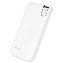 Аккумулятор внешний Baseus, THIN, 10000mAh, пластик, 2 USB выхода, беспроводная зарядка QI, 2.1A, цвет: белый